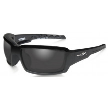 Wiley X Titan Glasses - Polarized Smoke Grey, Gloss Black Frame - Front View