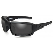 Wiley X Titan Glasses - Smoke Grey, Matte Black Frame - Front View