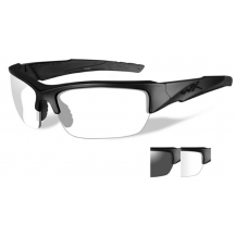 Wiley X Valor Glasses - Smoke Grey/Clear, Matte Black Frame - Front View