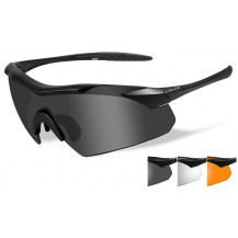 Wiley X Vapor Glasses - Grey/Clear/Rust, Matte Black Frame - Front View
