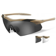 the Wiley X Vapor Glasses - Grey/Clear, Tan Frame - Front View