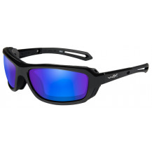 Wiley X Wave Glasses - Polarized Blue Mirror, Gloss Black Frame - Front View