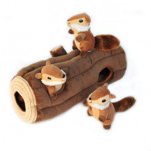 Zippy Paws Interactive Burrow, Log With 3 Chipmunks Dog Toy - Large