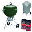 Weber Original Kettle Premium Charcoal Grill - 57cm, Green + FREE Briquettes and Charcoal Braai Vinyl Cover2