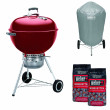 Weber Original Kettle Premium Charcoal Grill - 57cm, Crimson + FREE Briquettes and Charcoal Braai Vinyl Cover2