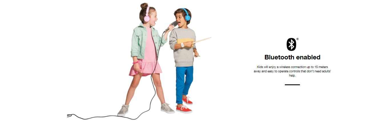 JBL JR300 BT Kid's Wireless On-Ear Headphones Features