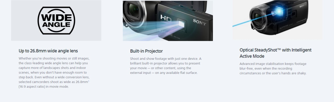 Sony PJ410/BE HD Handycam with Built-In Projector (PAL) Features